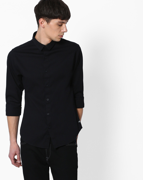 Slim Fit Shirt With Dobby Weave By SPYKAR ( Black )