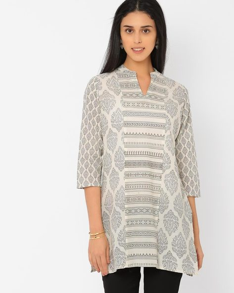 Printed Tunic With Mandarin Collar By AJIO ( Lightblue )