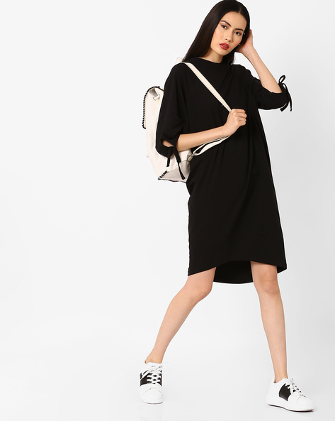 High-Low Jersey Dress With Raglan Sleeves By AJIO ( Black )