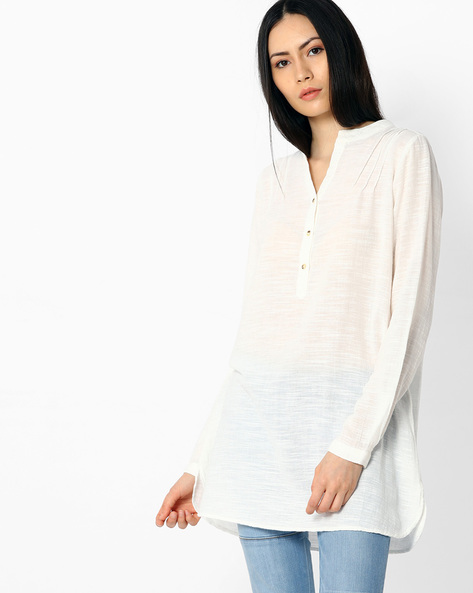 Tunic With Mandarin Collar By Vero Moda ( White )