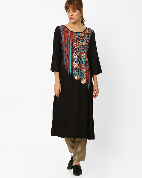 Printed Kurta With Bell Sleeves By Global Desi ( Black )