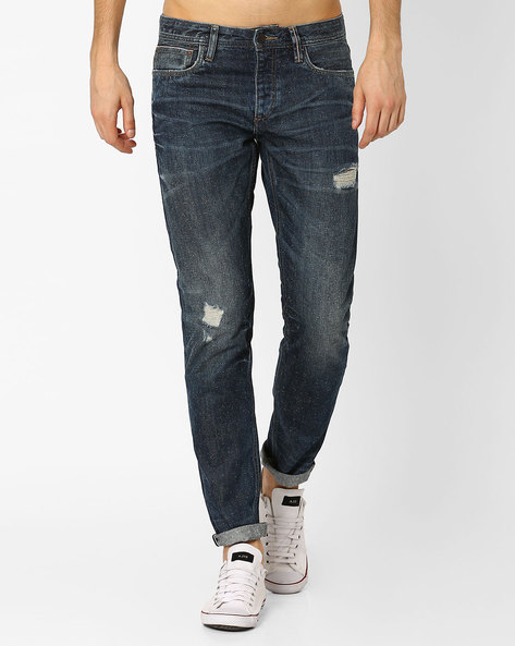 Distressed Comfort Fit Jeans By Jack & Jones ( Blue )