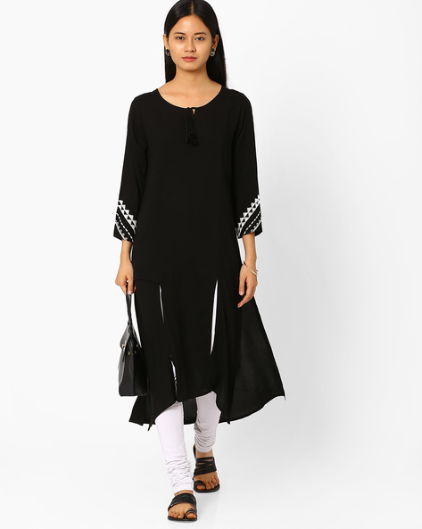 Aideen Kurta With Front Slits By Global Desi ( Black )