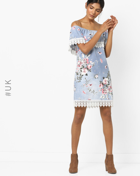 Floral Print Off-Shoulder Shift Dress By INFLUENCE ( Lightblue )