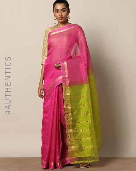 Handloom Mangalgiri Moti Border Cotton Silk Saree By Indie Picks ( Purple )