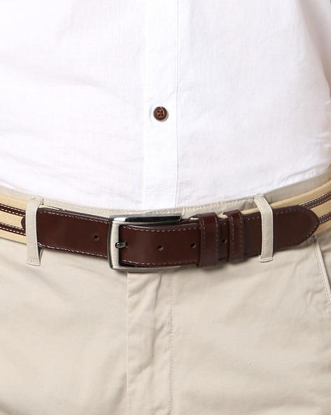 Panelled Genuine Leather Belt By AJIO ( Beige )