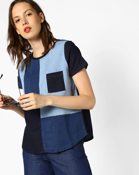 Panelled Denim Top With Patch Pocket By Evah London ( Multi )