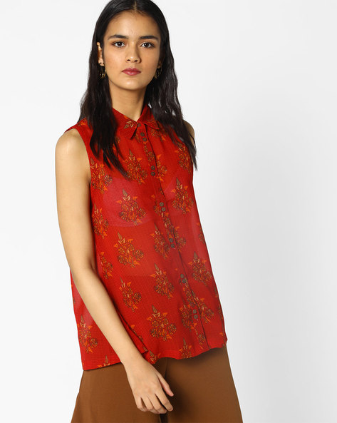 Floral Print Sleeveless Shirt By PE IW Fusion ( Red )