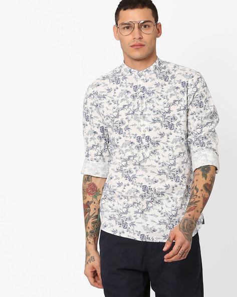 Floral Print Shirt With Mandarin Collar By AJIO ( White )