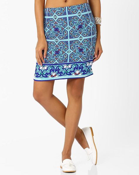 Tile Print Mini Skirt By AJIO ( Blue )