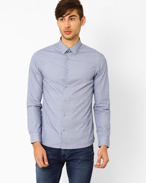Printed Slim Fit Cotton Shirt By Celio ( Blue )