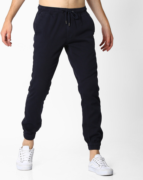 Panelled Flat-Front Joggers By NETPLAY ( Navy )
