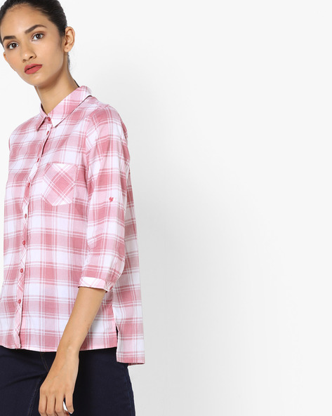 Checked High-Low Top By Fame Forever By Lifestyle ( Pink )