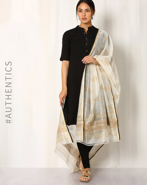 Hand Block Print Maheshwari Dupatta By Indie Picks ( Offwhite ) - 460017100001