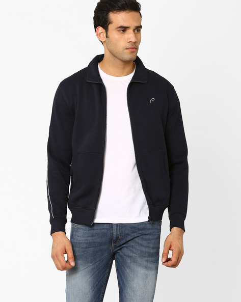 Regular Fit Sweatshirt With Contrast Piping By PROLINE ( Navy )