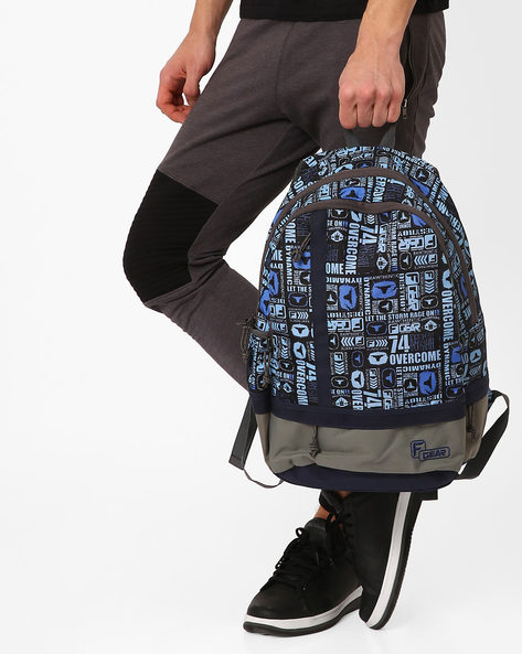 Burner Casual Printed Backpack By F-GEAR ( Blue )
