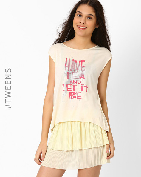 Printed Top With Pleated Back By AJIO Girl ( Offwhite )