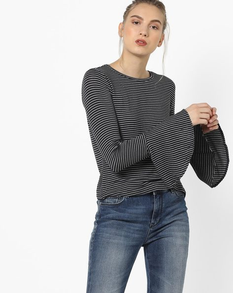 Striped T-shirt With Flared Sleeves By Only ( Blue )