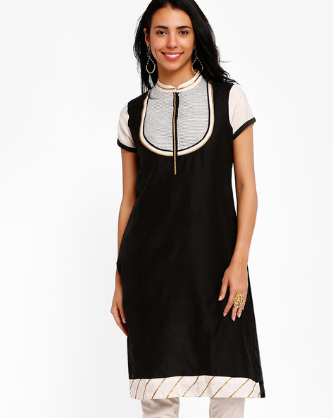 Kurta With Mandarin Collar By AJIO ( Black ) - 460001758005