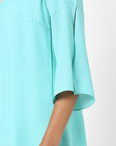 Open-Front Jacket With Embroidery By AJIO ( Teal )