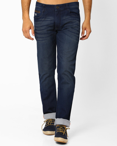Lightly Washed Slim Fit Jeans By JOHN PLAYERS ( Blue ) - 440735644003