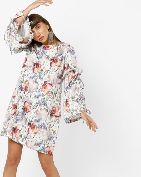 Floral Print Dress With Tiered Bell Sleeves By AJIO ( White )