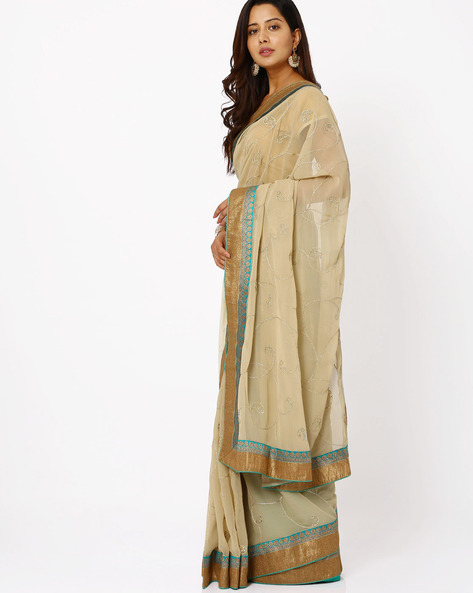 Embroidered Georgette Saree By Vishal Prints ( Offwhite )