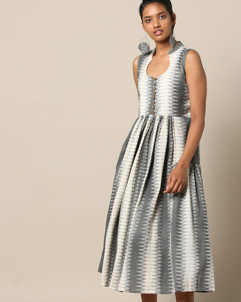 Sleeveless Cotton Fit & Flare Dress With Ikat Print By Indie Picks ( Grey )