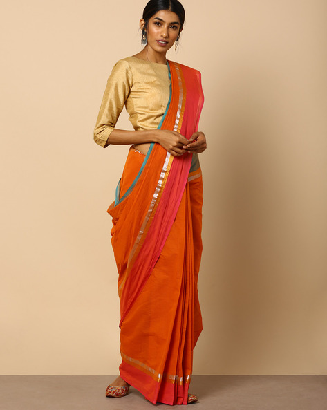 South Cotton Saree With Zari Border By Indie Picks ( Brown )