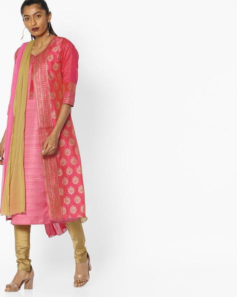 Foil Print Chanderi Kurta Suit Set By KIRA ( Pink )