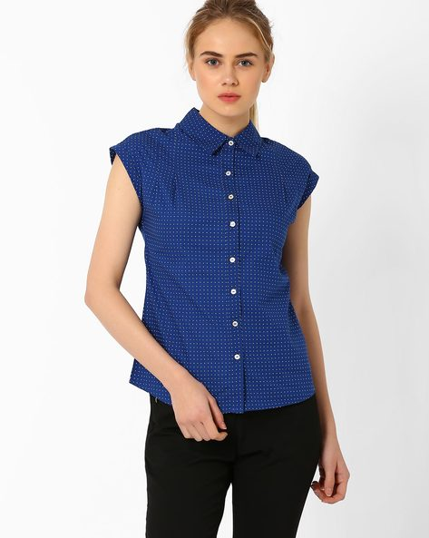 Polka Dot Shirt With Cap Sleeves By Annabelle By Pantaloons ( Navyblue )