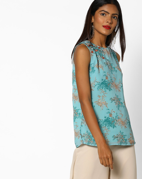 Floral Print Top With Embroidery By AJIO ( Teal )