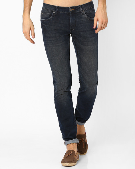 Slim Fit Low-Rise Jeans By BASICS ( Black )