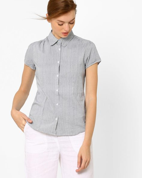 Shirt With Houndstooth Print By FIG ( Blue )