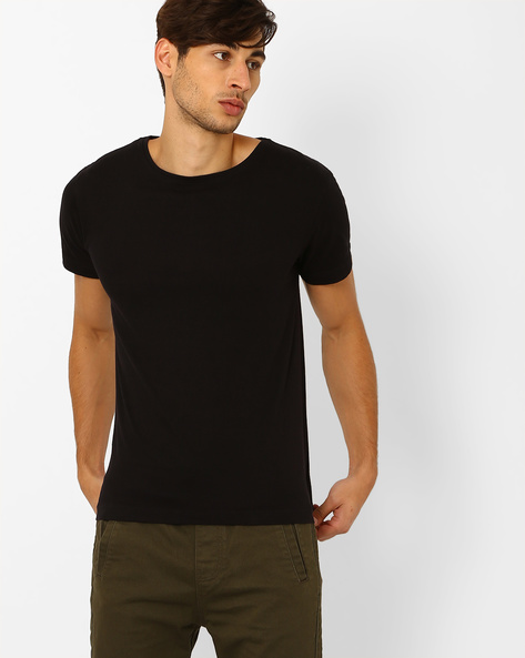 Slim Fit T-shirt With Back Zipper By Blue Saint ( Black )