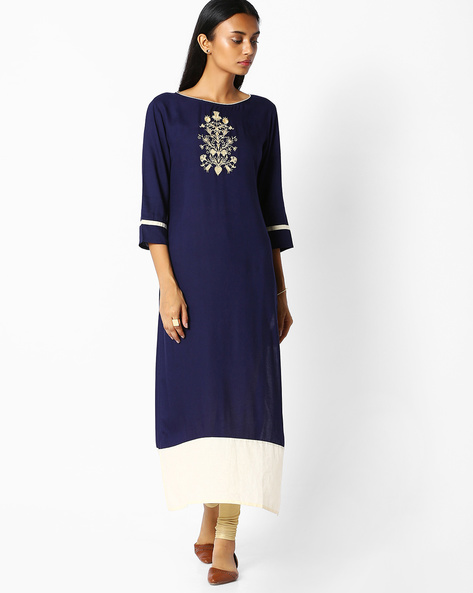 Straight Kurta With Embroidery By Jaipur Kurti ( Navyblue )