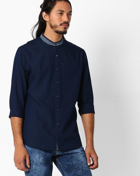 Regular Fit Cotton Shirt By NETPLAY ( Navy )