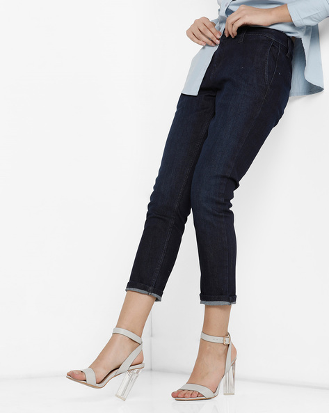 Mid-Rise Ankle-Length Jeans By Project Eve WW Denim ( Black )
