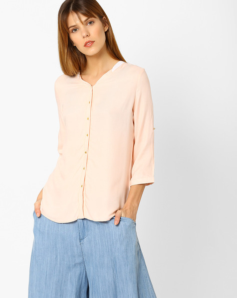 High-Low Shirt With Button Detail By KRAUS ( Orange )