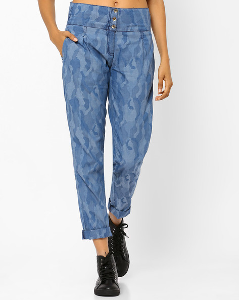 High-Rise Trousers With Camouflage Print By AJIO ( Lightblue )