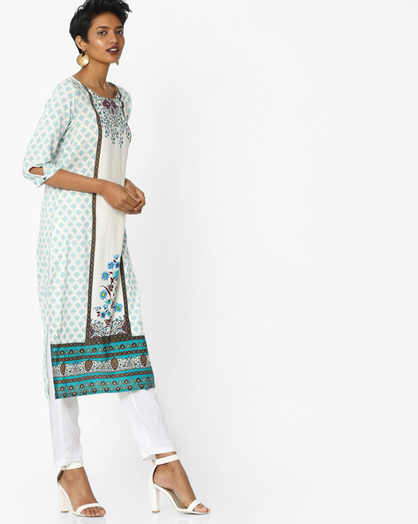 Floral Printed Straight Kurta With Contrast Border By AURELIA ( Blue )