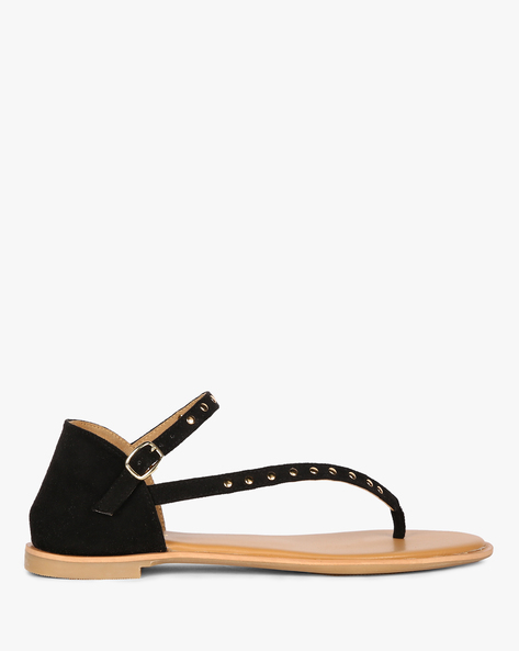 Embellished Flats With Buckle Closure By AJIO ( Black )