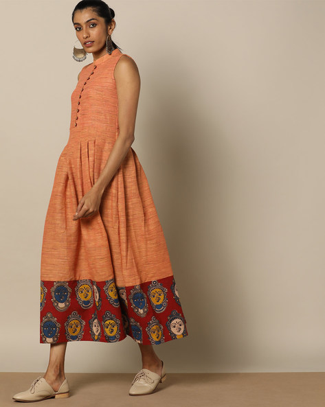 Handloom Cotton Kalamkari Print Sleeveless Dress By Indie Picks ( Peach )