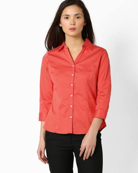 Printed Slim Fit Shirt By FIG ( Pink )
