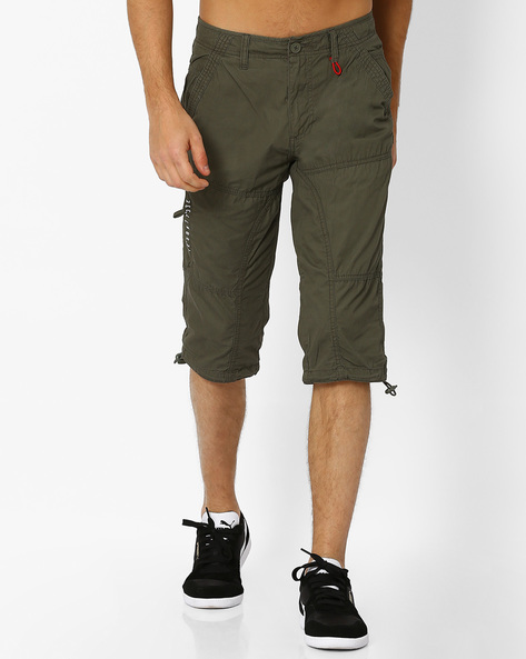Panelled 3/4th Pants With Insert Pockets By Teamspirit ( Olive )