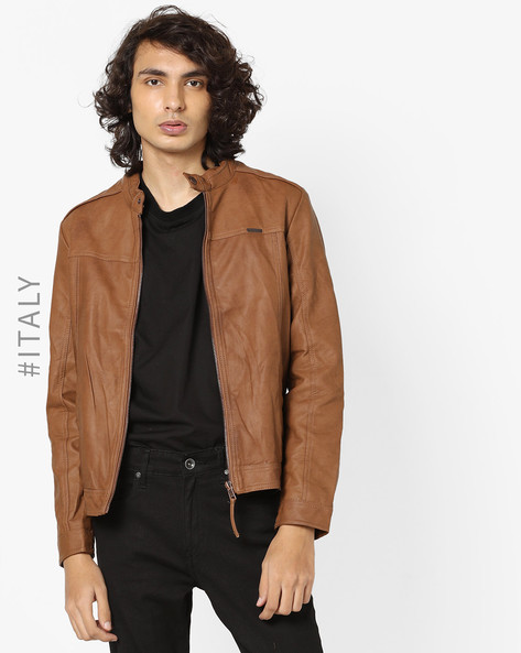 Biker Jacket With Front Zipper By ALCOTT ( Tobacco )
