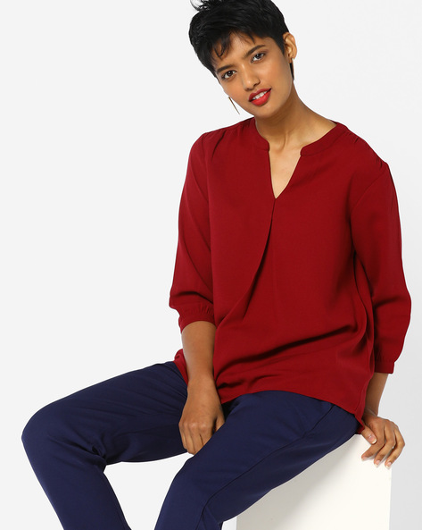 Pleated Top With Notched Mandarin Collar By PE WW Casual ( Red )
