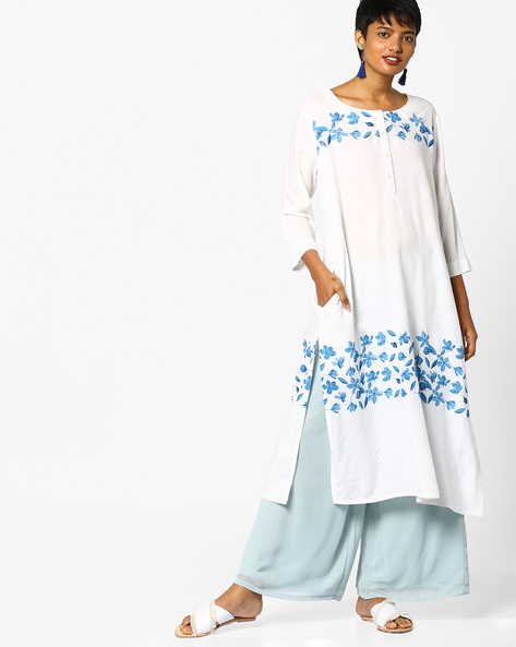 Floral Print Kurta By Project Eve IW Casual ( White )