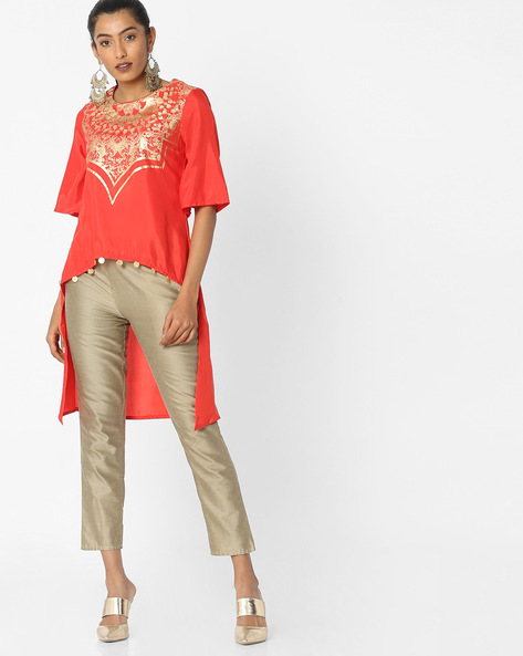 Printed Top With High-Low Hemline By Akkriti By Pantaloons ( Red )