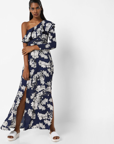 Printed One-Shoulder Sheath Maxi Dress By Sassafras ( Blue )
